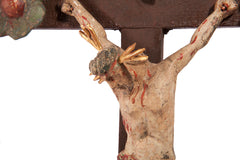 Rare baroque Christ on the cross with flowers