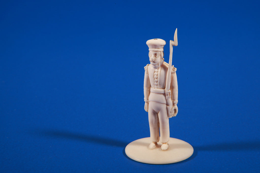 Pair of indo-portugese ivory soldiers