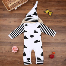 Hooyi White Black Stripe Sleeve Cloud Newborn One-Piece Clothes Boys/Baby Girl Jumpsuit + Hat Set Caps