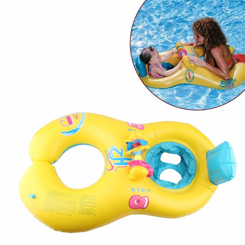 Soft Inflatable Baby Swimming Float Ring for Kids Seats 2 Person Blue/Yellow Free Shipping