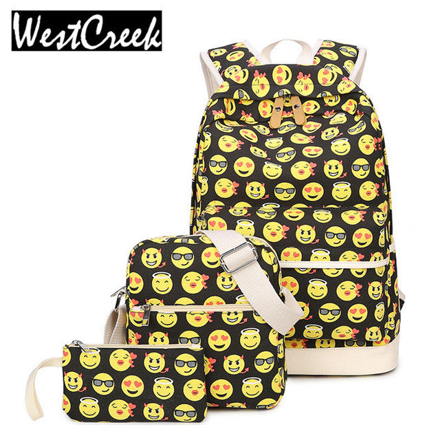 Set Casual Backpack 3D Smiley Emoji Face Printing Canvas Backpacks for Teen
