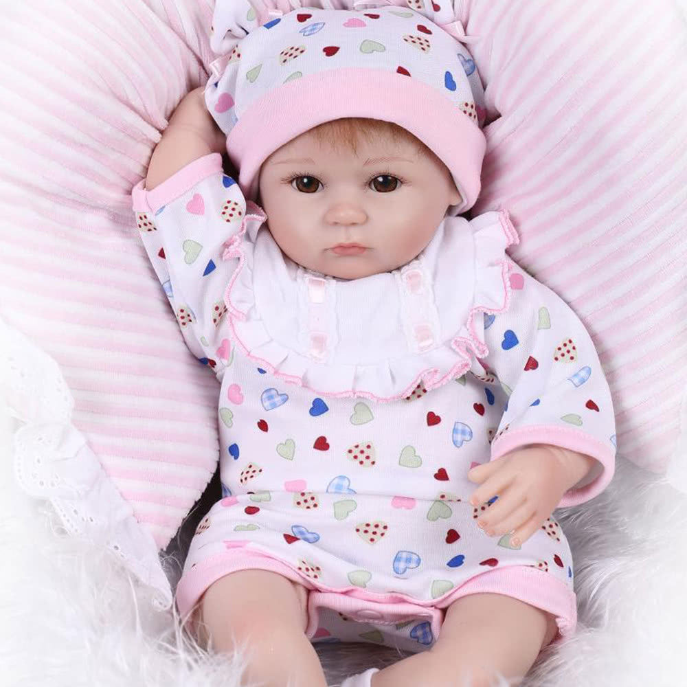 Reborn Baby Doll Girl Baby Bath Toy Silicone Body Eyes Open With Clothes 16inch 40cm Lifelike