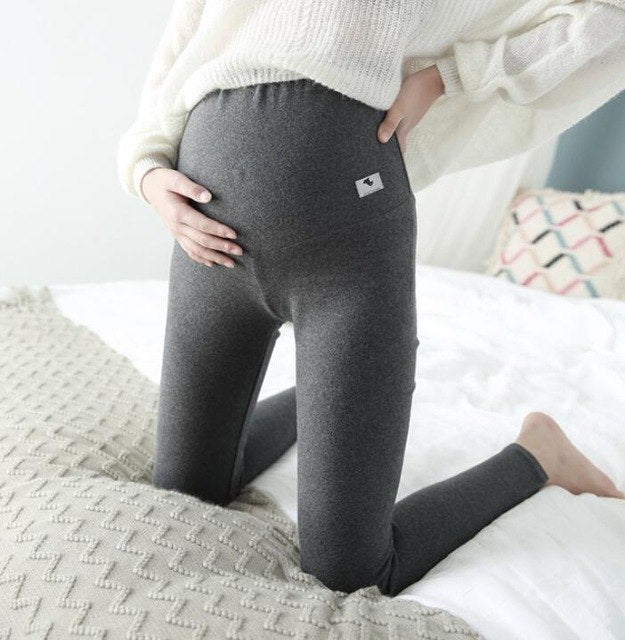 SMDPPWDBB Autumn/Winter Women Skinny Maternity Leggings High waist V Belly Knitted Pants Clothes for Pregnant Women