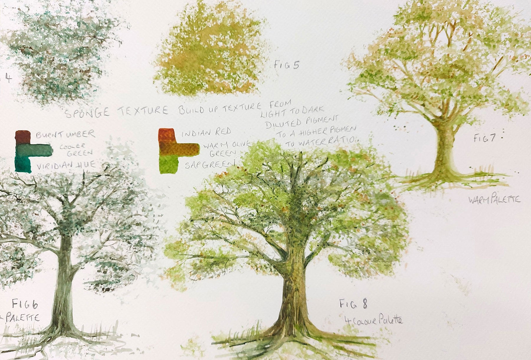 How to paint trees in Watercolour with a limited palette