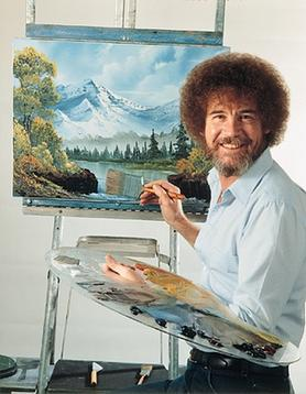 Publicity photo of Ross with his easel