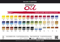 Daler Rowney Graduate Oil Colour 200ml Tube cOLOUR chart
