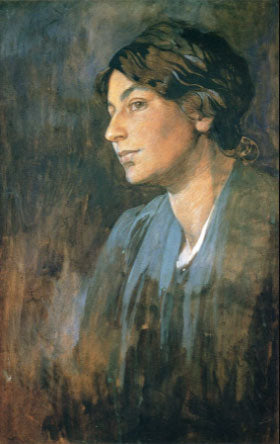 'Portrait of Maruska, the artist's wife. by Artist: Alfonse Mucha 1905 50.7x32.1cm Gouache painting on Board