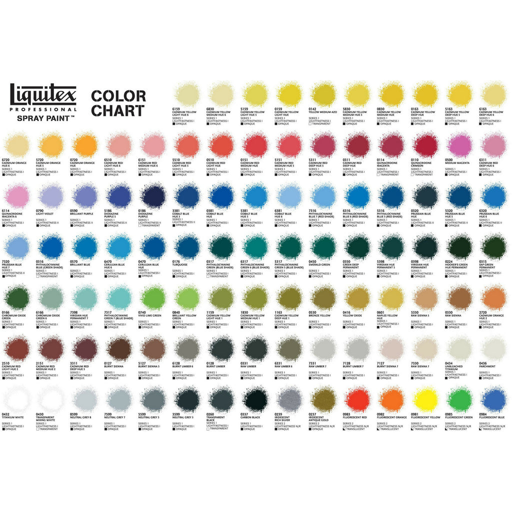 Liquitex Spray Paints Colour Chart
