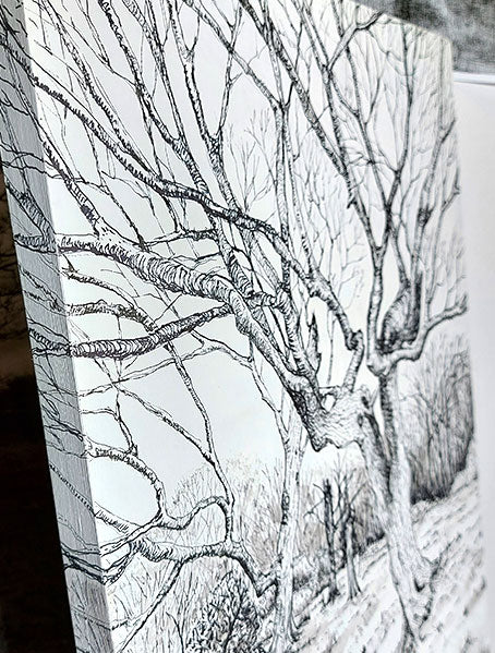 Ellie Jakeman 'Winter tree study' Fine liner and acrylic ink on ARTdiscount wooden panel board, 30cm x 42cm. (close up, side view)