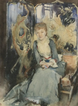 'Miss Rubel, sitting in front of a screen' Artist:  John Singer Sargent Painting 1885 34.9x25.1cm gouache and Watercolour on paper .