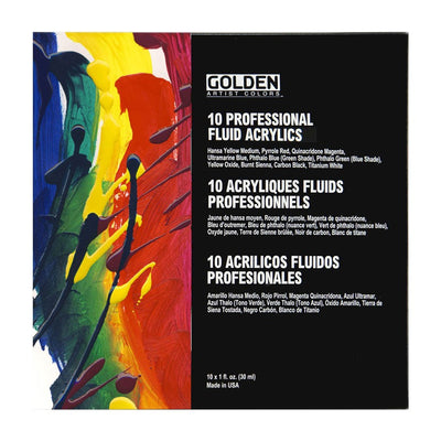 Golden Fluid Artists Acrylic Professional Set - (10 x 30ml)
