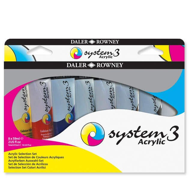 Daler-Rowney System 3 Selection Acrylic Paint Set - 8 x 59ml