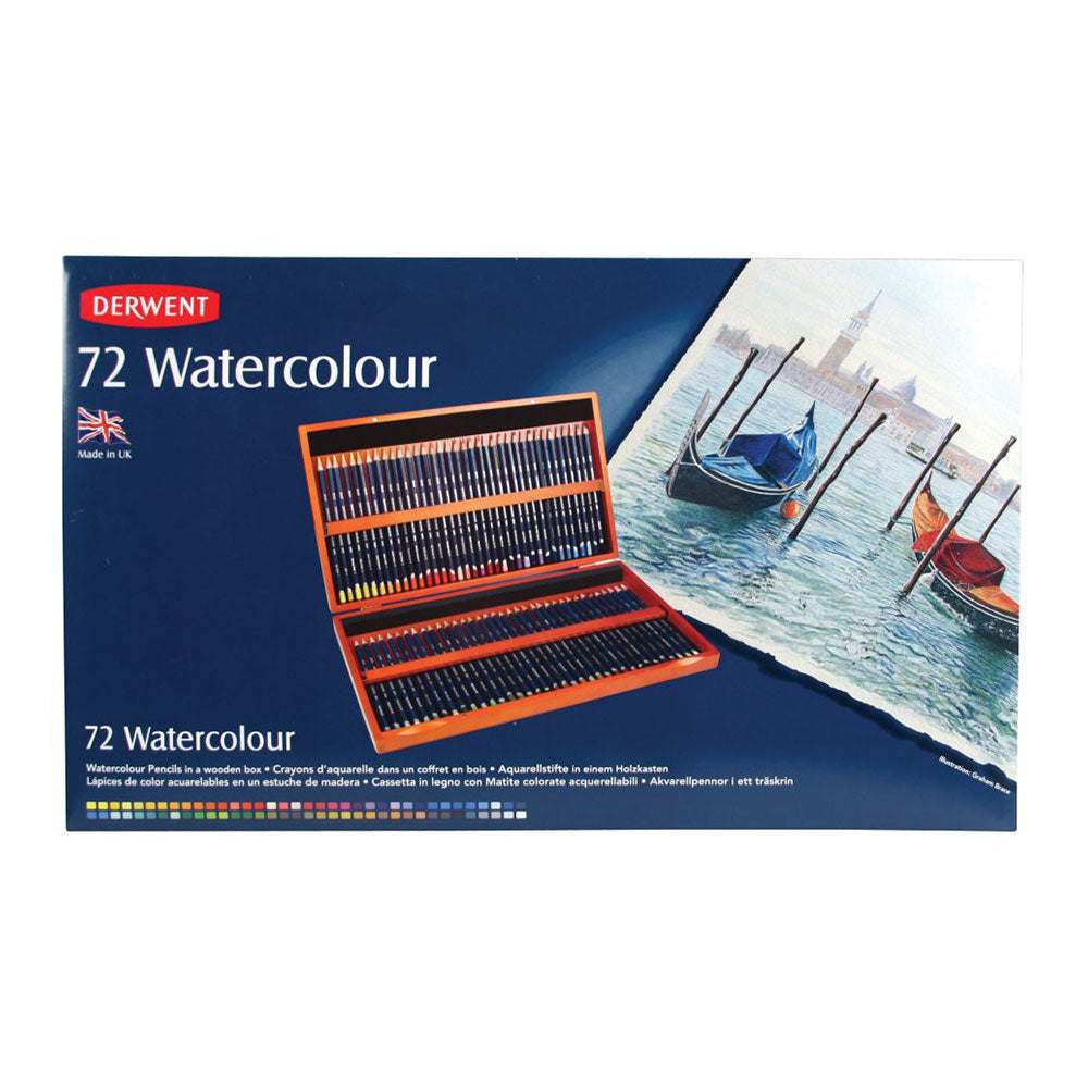 Derwent Watercolour Wooden Box Set of 72 Pencils