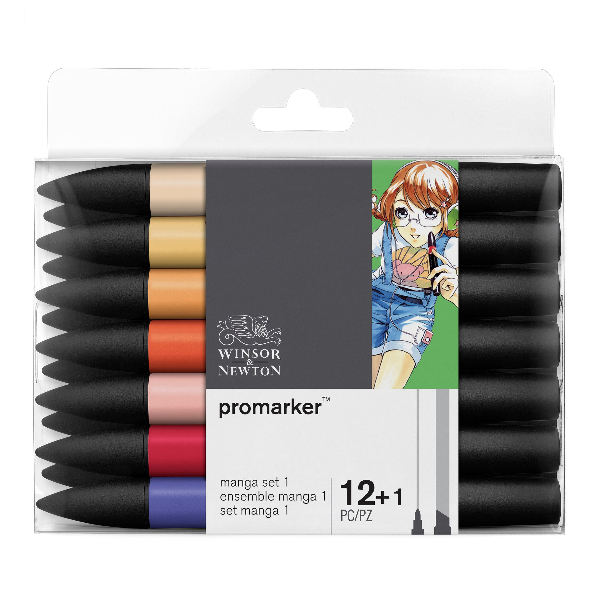 Winsor & Newton Promarker Set of 12+1 Pieces - Manga Set 1