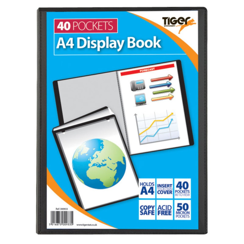 Tiger 300933 40 A4 Pocket Presentation Display Book - Black