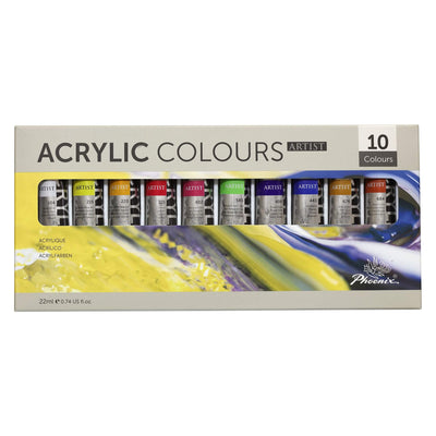 Acrylic Paint Set for Artists - 10 x 22mls Tubes