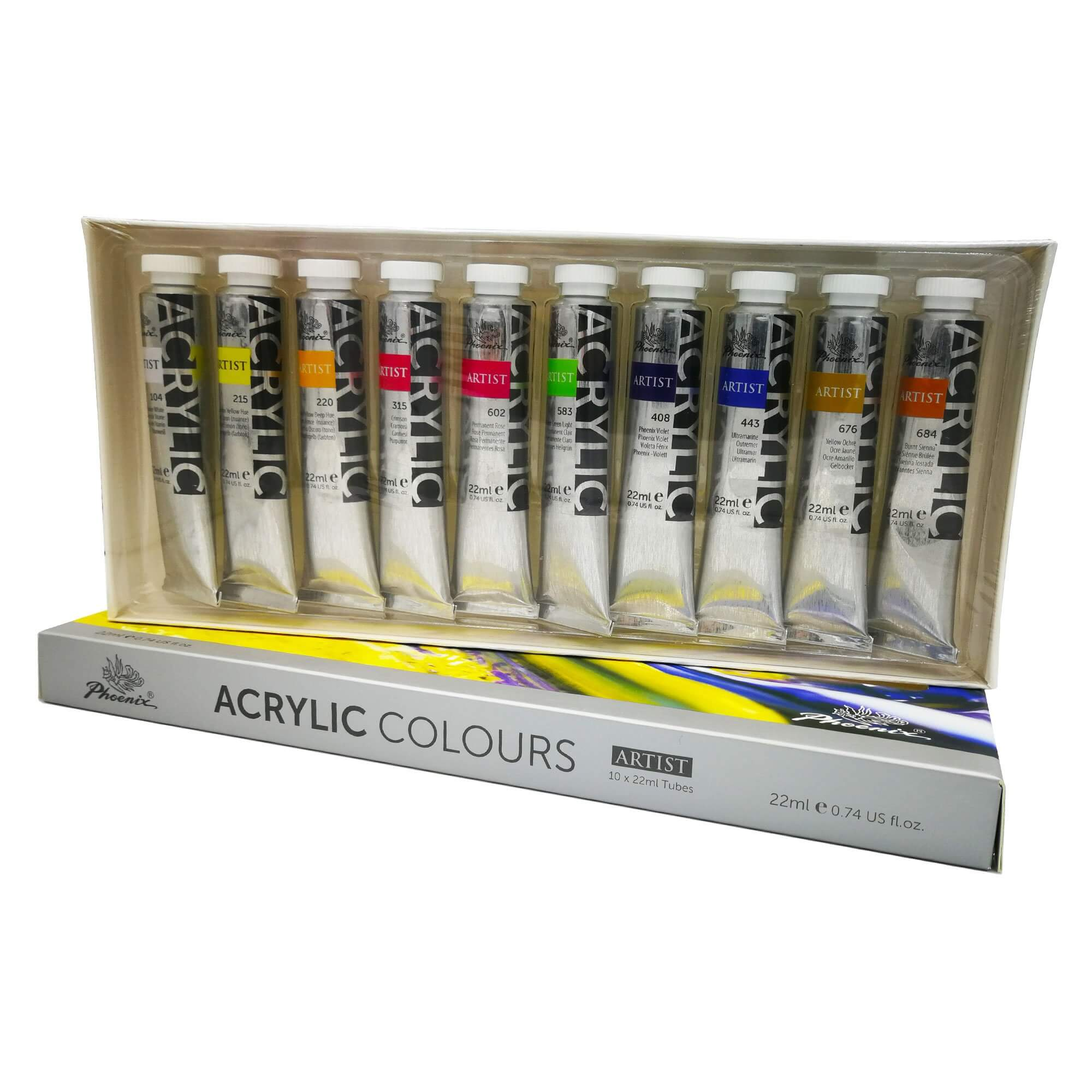 ART essentials - Wooden Box Acrylic Paint Set - 35 Piece Set