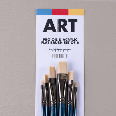 ARTdiscount Pro Oil & Acrylic Flat Brush Set of 6