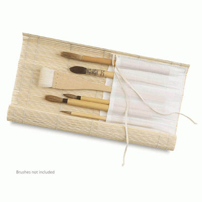 Jakar Artists Bamboo Brush Roll with Cloth Pockets