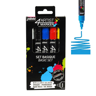 Pebeo 4Artist Set Of 5 Assorted BASIC Colours (4mm)