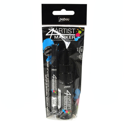 Pebeo 4Artist Set Of 2 BLACK Markers (2mm & 8mm nibs)