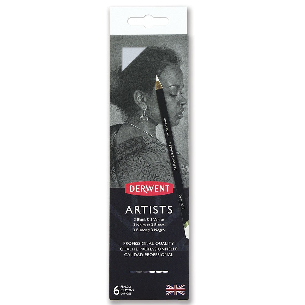 Derwent Artists Quality Pencils - 3 Black & 3 White