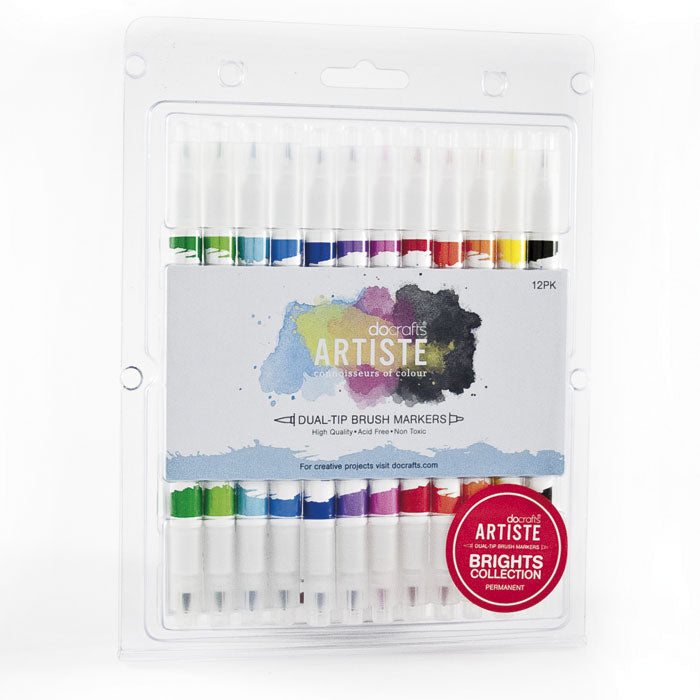 Docrafts Artiste Dual tip BRIGHTS Brush Markers
