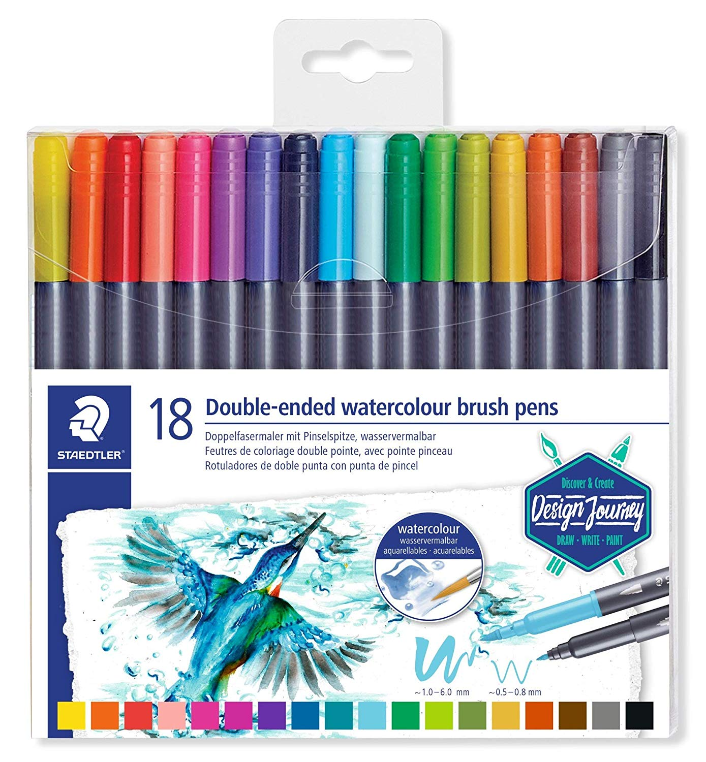 Staedtler Double-Ended Watercolour Brush Pens - Set of 18