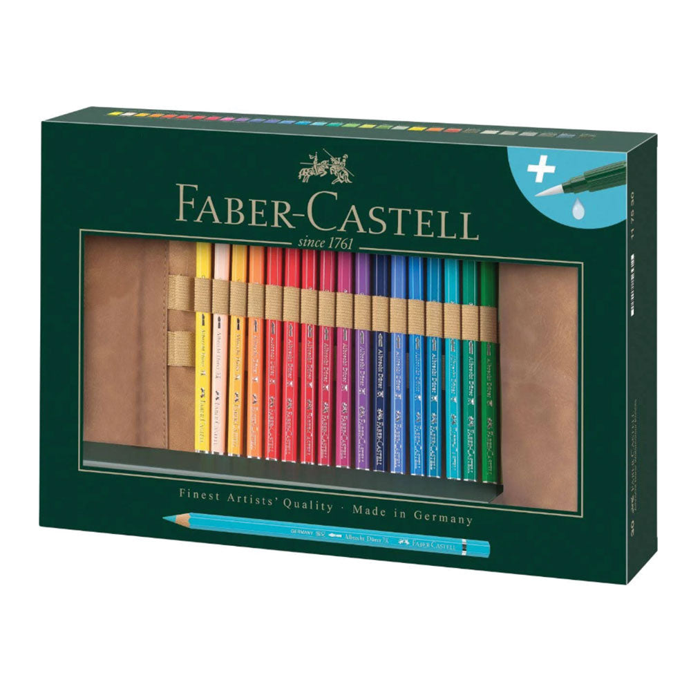 FABER-CASTELL Albrecht Durer 30 Artists' Watercolour Pencil Set with Roll Case & Brush