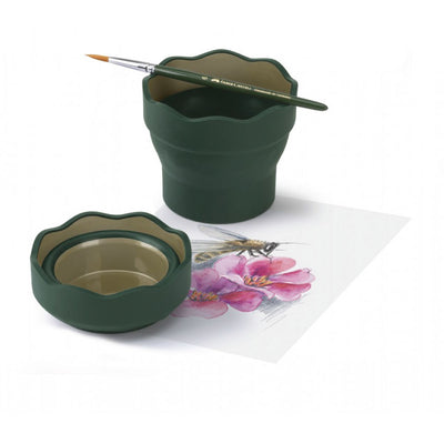 Faber Castell : Clic & Go Foldable Water Pot & Brush Holder - GREEN