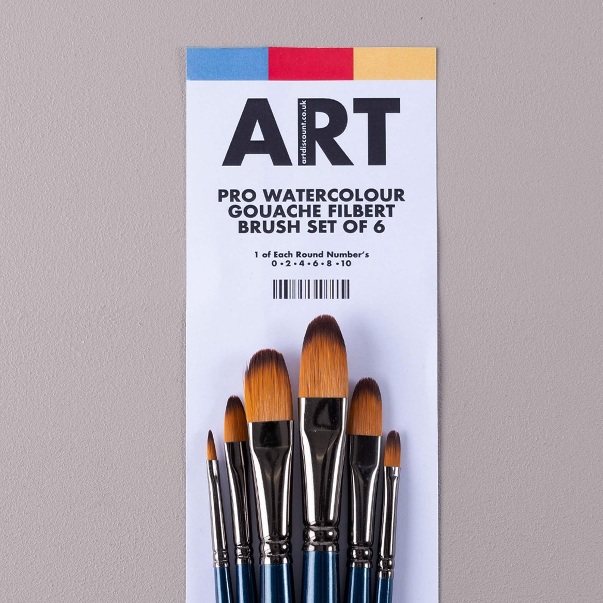 ARTdiscount Pro Watercolour/Gouache Filbert Brush Set of 6