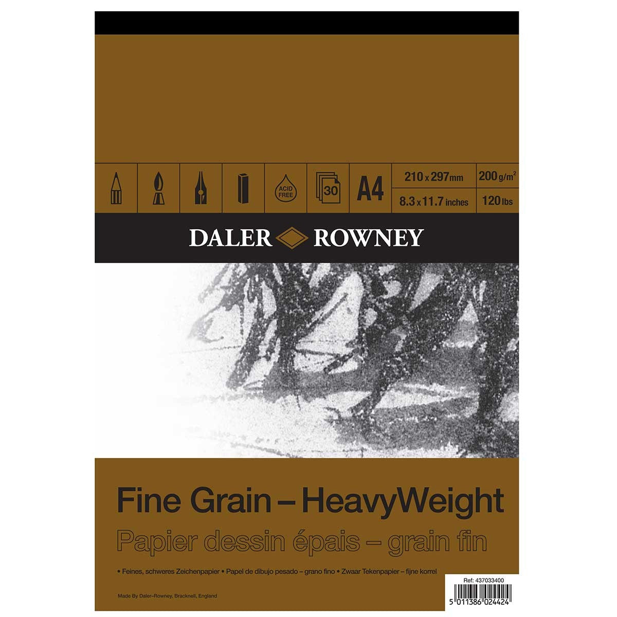 Daler Rowney Fine Grain Heavyweight Cartridge Pad - 200gsm