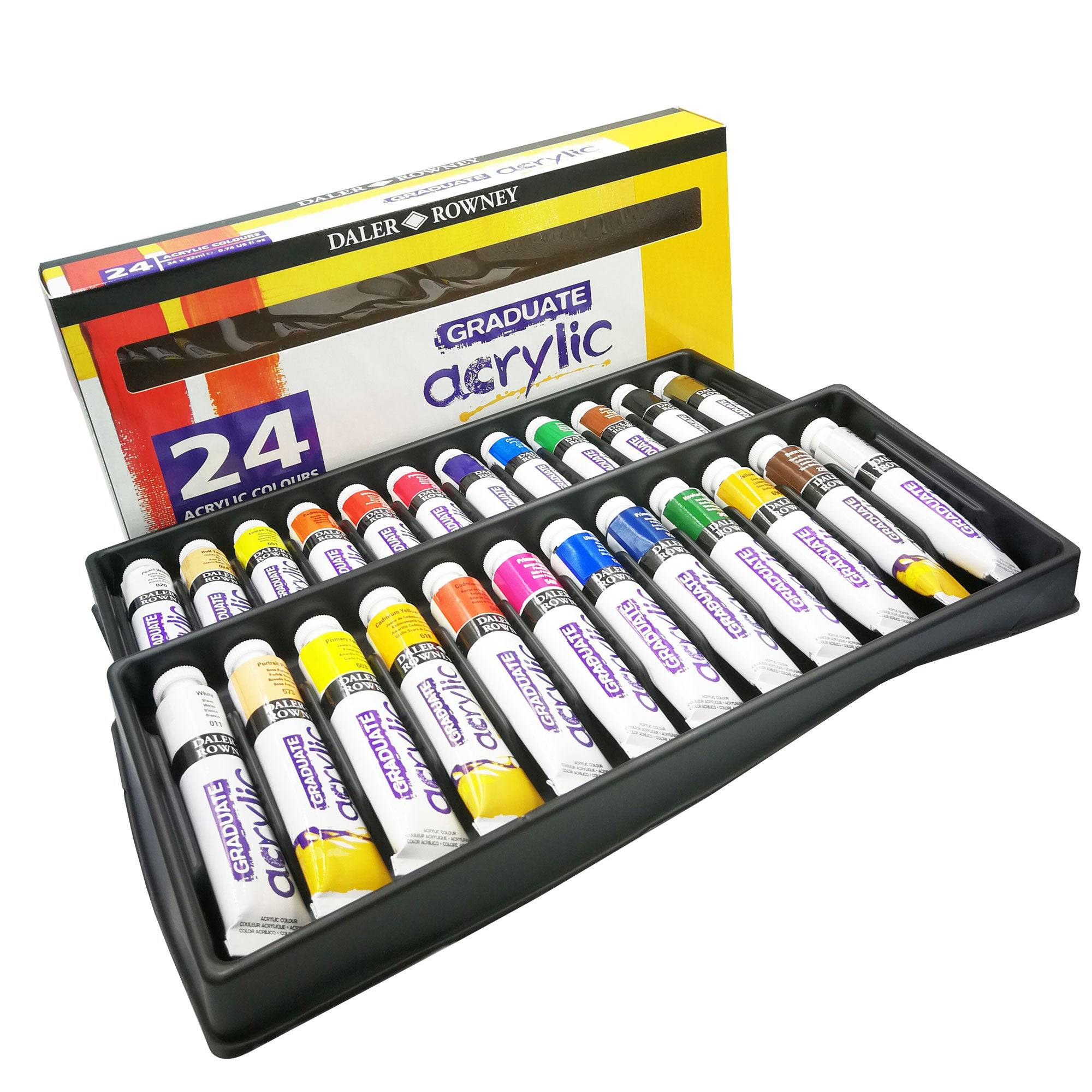 Daler Rowney Graduate Acrylic Colour Selection Set - 24 x 22ml Tubes