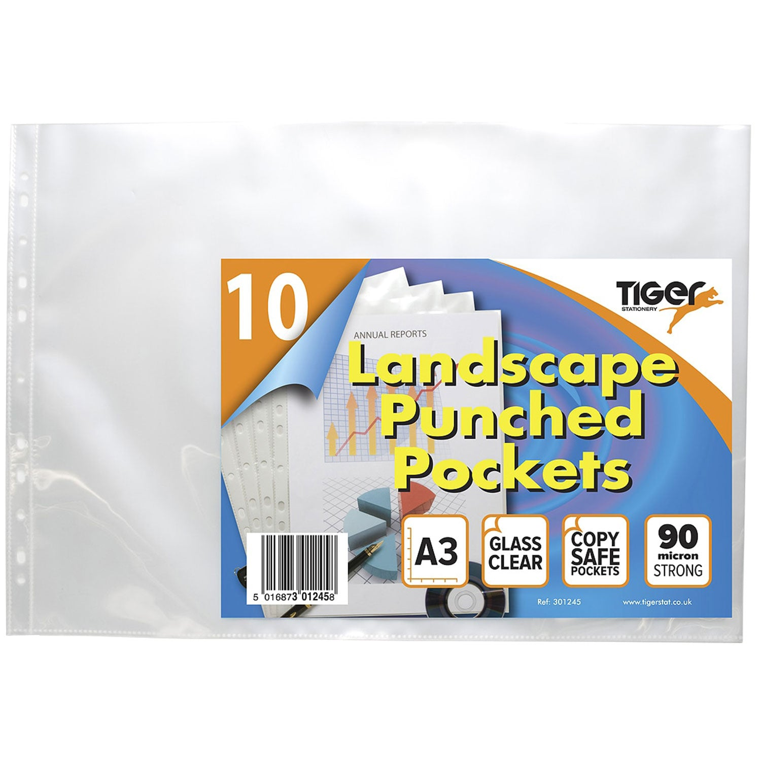 Tiger A3 Landscape Punched Pockets - Pack of 10