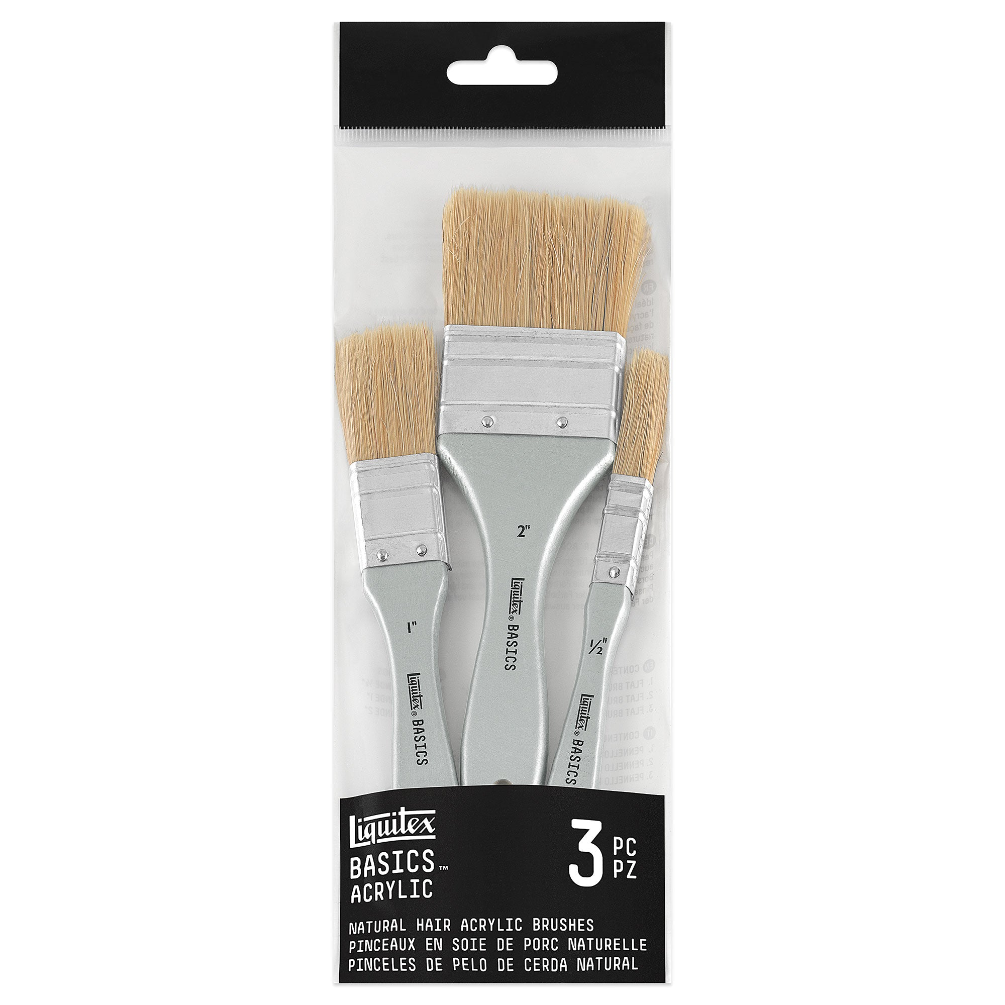 Liquitex Basics Natural Hair Acrylic Brushes - Pack of 3