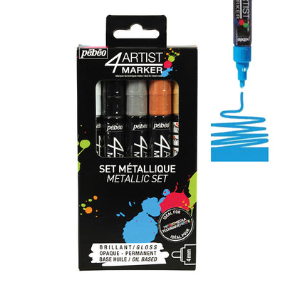 Pebeo 4Artist Set Of 5 Assorted METALLIC Colours (4mm)