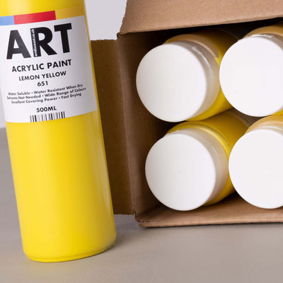 ARTdiscount Acrylic Paint in 500ml - (Single colour - pack of 6)