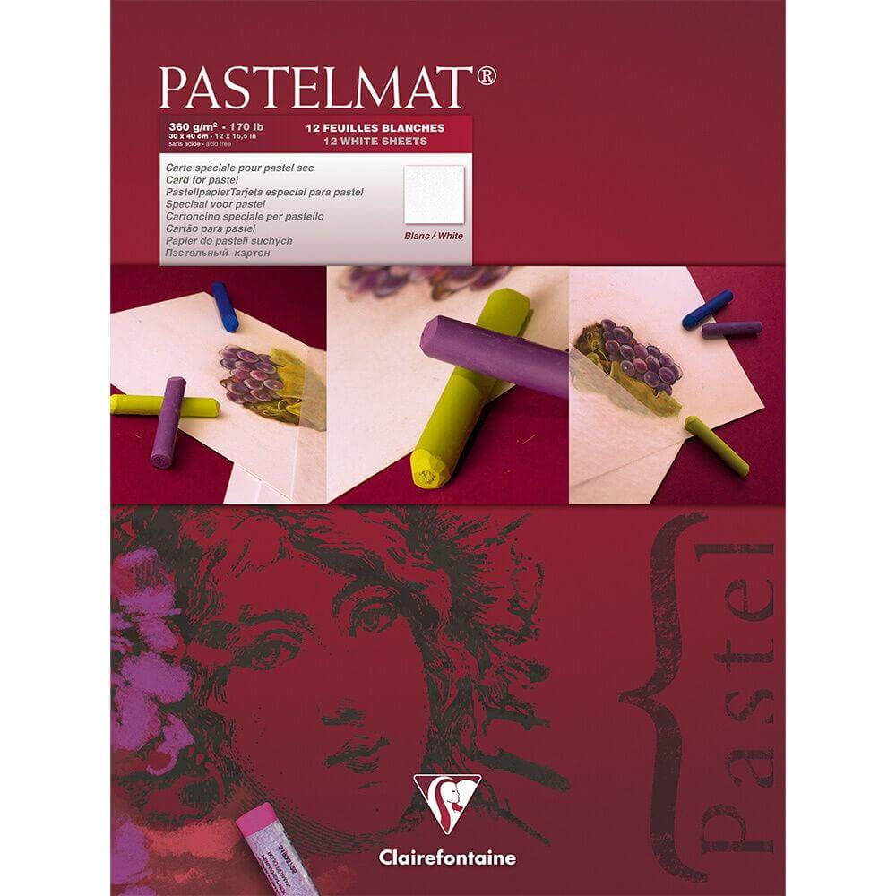 Clairefontaine Pastelmat Pad - WHITE PAPER - 360g - 30x40cm - 12 Sheets - Maroon Cover
