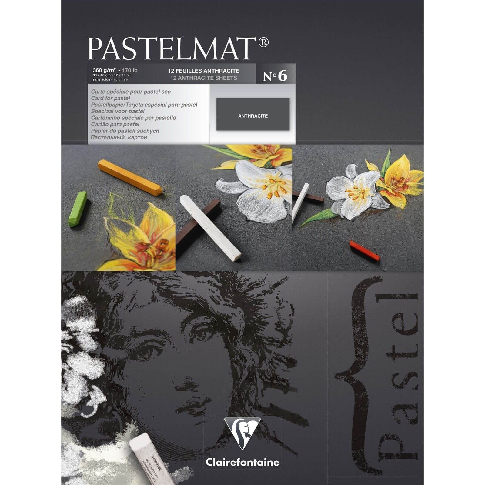 Clairefontaine Pastelmat Pad Anthracite - 360g - 30x40cm - 12 Sheets - Grey Cover