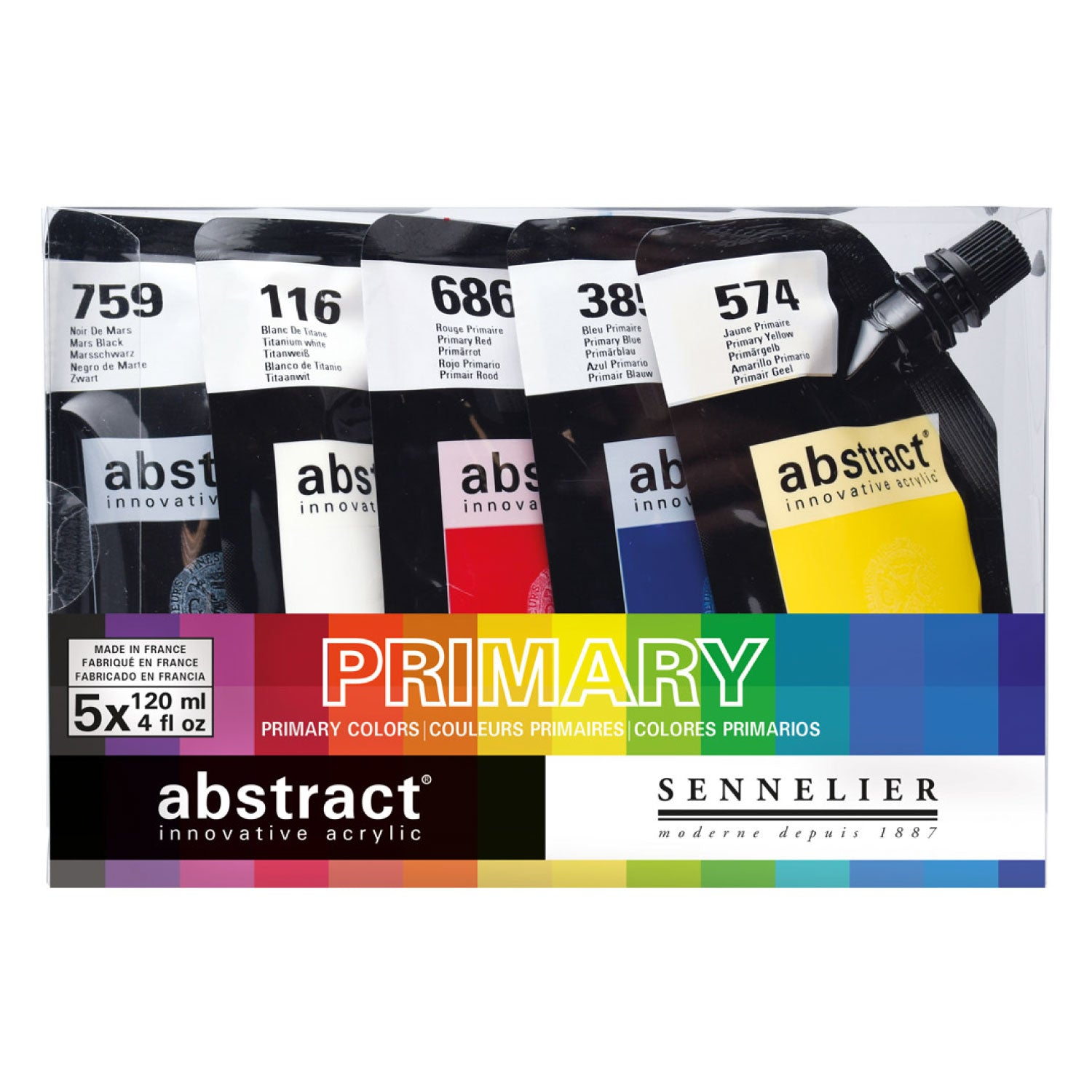 Sennelier Abstract Acrylic Paint Pouches - 5 x 120ml - Primary/Introductory