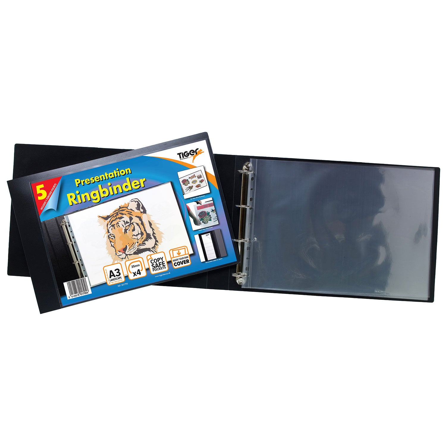 Tiger A3 Landscape Presentation 4 Ring Binder