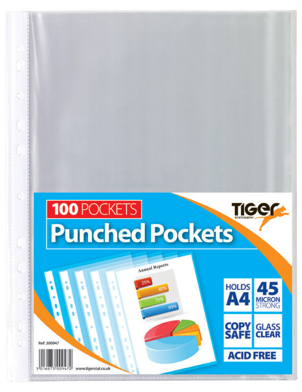 Plastic Transparent Pockets/Sleeves (A4 - Bag of 100 - 45 microns)