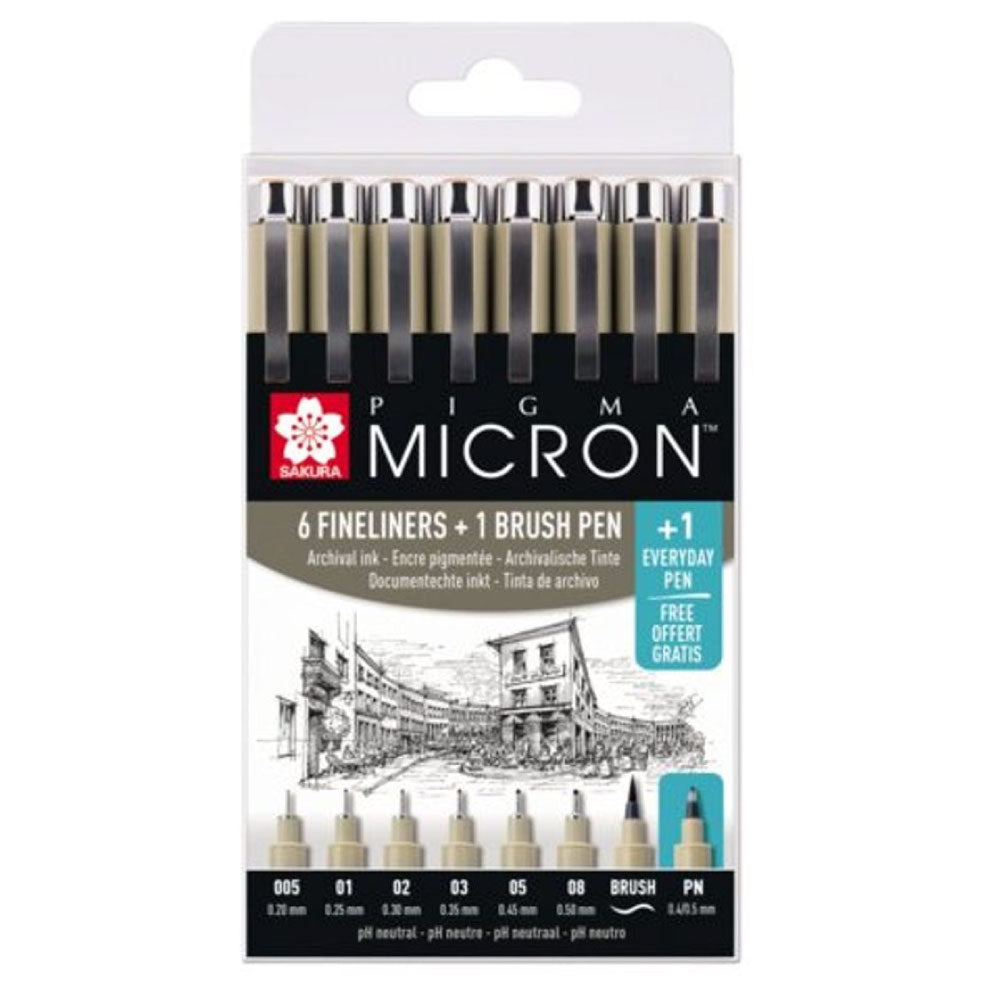Sakura Pigma Micron Fineliners - Set of 8