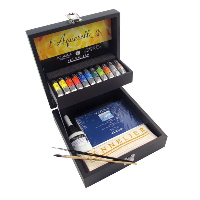 Sennelier Artists Watercolour Wooden Box Set - 11 x 10ml Tubes