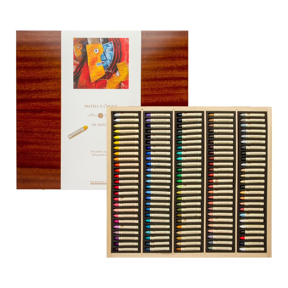 Sennelier 120 Assorted Oil Pastel Wooden Box Set