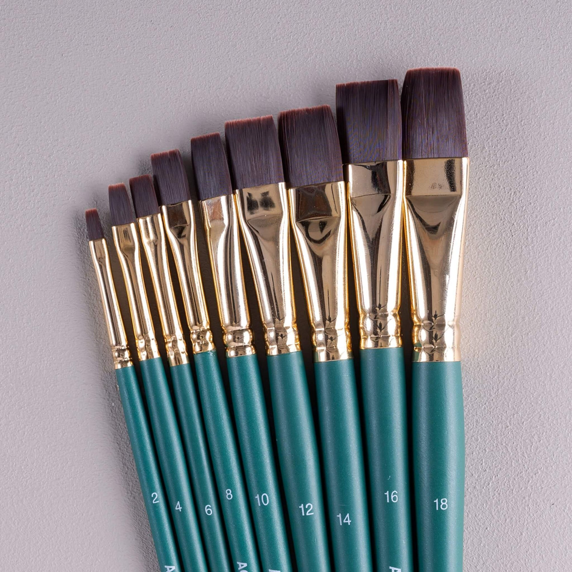 ARTdiscount Short Handled Artists Brushes - Flat