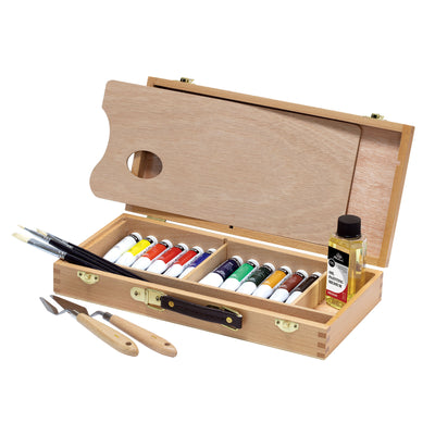 Studio Oil Paint Set - Wooden Box - 20 Pieces
