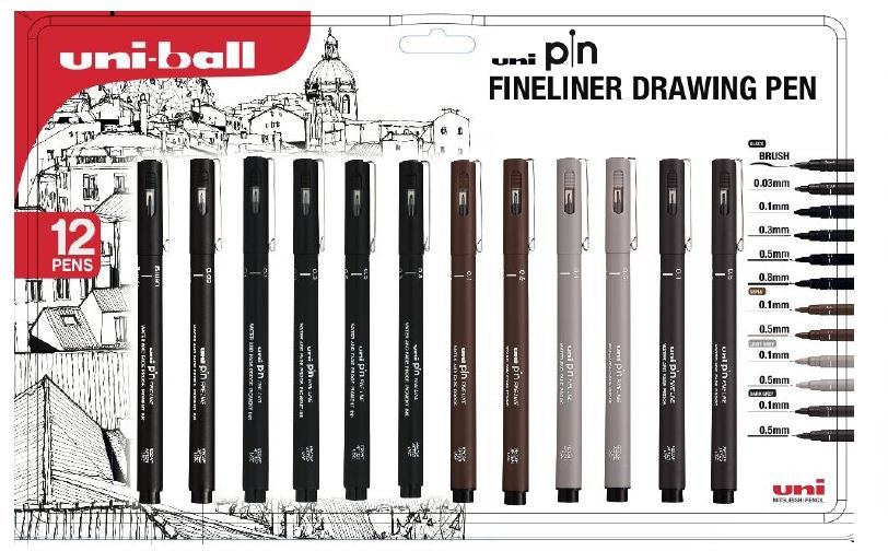 Uniball Set of 12 Fineliner Drawing Pens