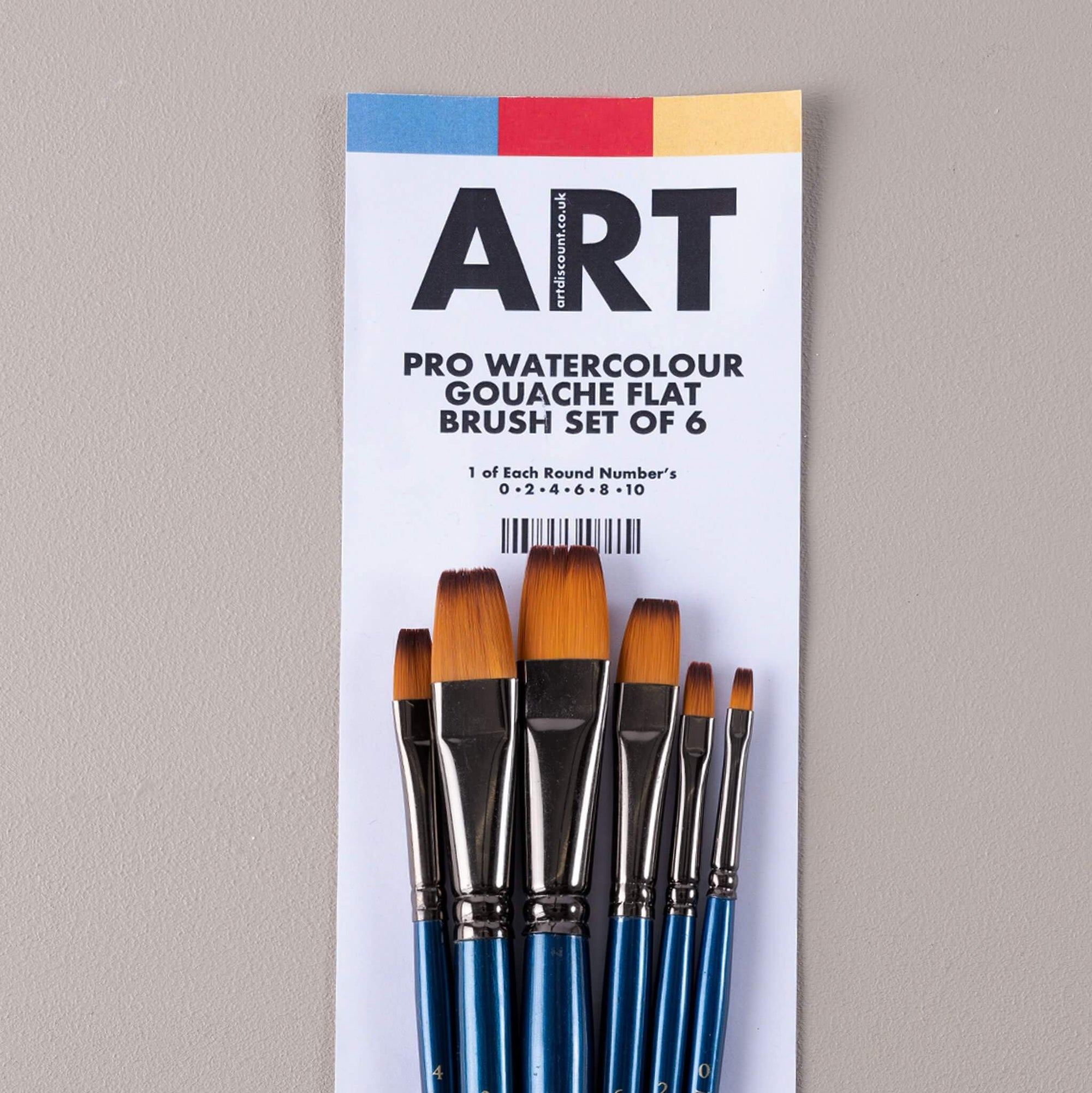 ARTdiscount Pro Watercolour/Gouache Flat Brush Set of 6
