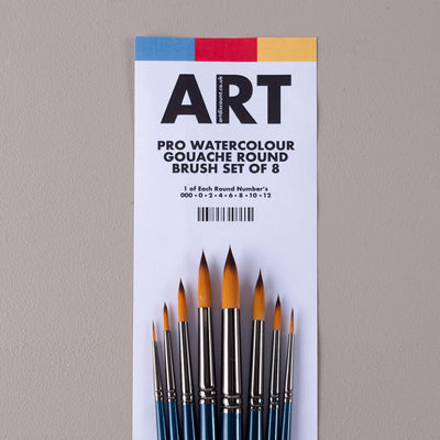 ARTdiscount Pro Watercolour/Gouache Round Brush Set of 8